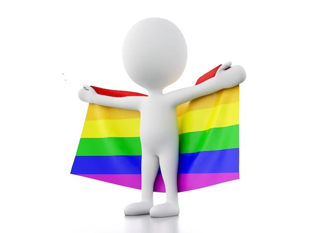 3d белые люди с флагом гей-прайда Premium Фотографии