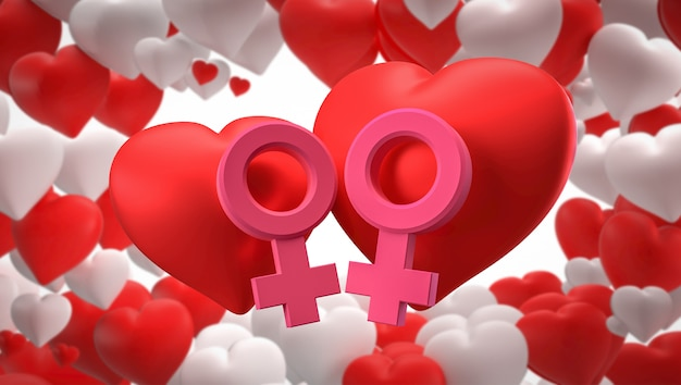 3dレンダリング。心、男性と女性の性別記号 Premium写真