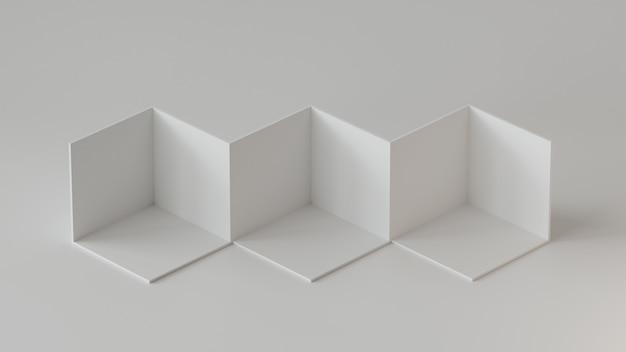 ホワイトキューブボックスの背景が白の背景に表示されます。 3dレンダリング Premium写真