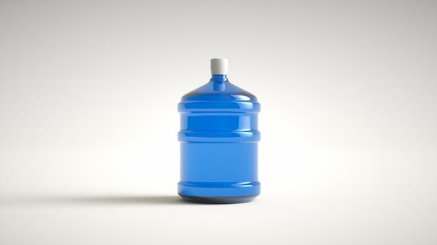 Большая пластичная питьевая вода бутылки изолированная на белой предпосылке. 3d-рендеринг. Premium Фотографии