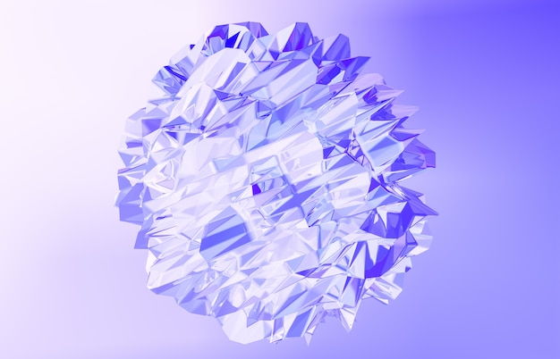 3d визуализация. абстрактный геометрический кристалл, переливающийся, ограненный камень. Premium Фотографии