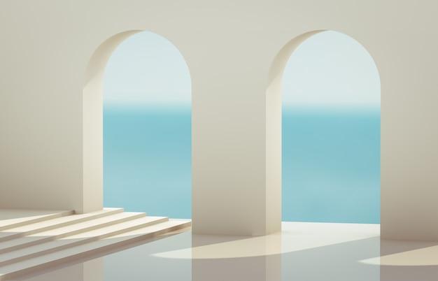 幾何学的な形のシーン、自然光の下で表彰台のあるアーチ。最小限の風景の背景。海の眺め。 3dレンダリングの背景。 Premium写真