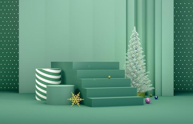 Абстрактная 3d композиция. зимний новогодний фон с елкой и этап для отображения продукта. Premium Фотографии