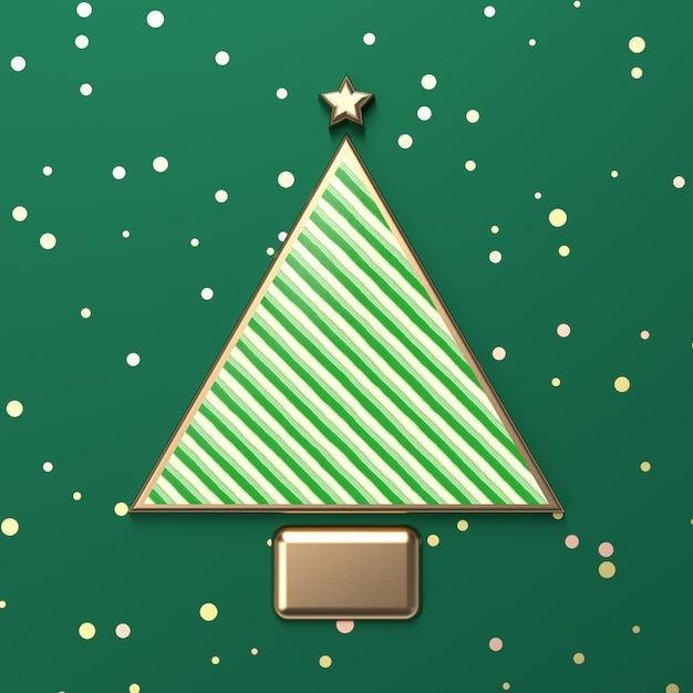 Творческий рождественская елка для отображения продукта с зеленой текстурой конфеты. 3d новогодний фон. вид сверху. квартира лежала. Premium Фотографии