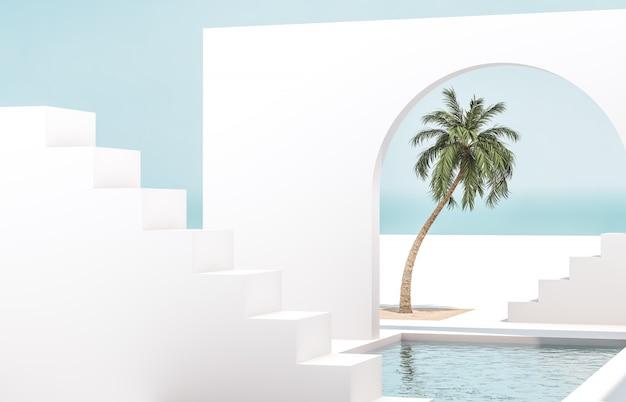 幾何学的な形のシーン、自然光の中で表彰台のあるアーチ。最小限の風景の背景。海の眺め。夏のシーン。 3dレンダリングの背景。 Premium写真