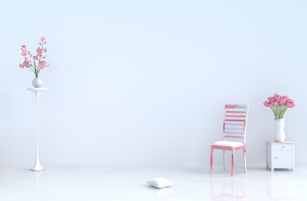 チェア、セメントの壁、タイル、チューリップと白い空の部屋。バレンタインデー、新年。 3dレンダリング。 Premium写真