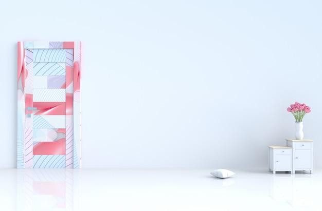 白い空の部屋。バレンタインデー。ドア、セメント壁、タイル、チューリップ。 3dレンダリング Premium写真