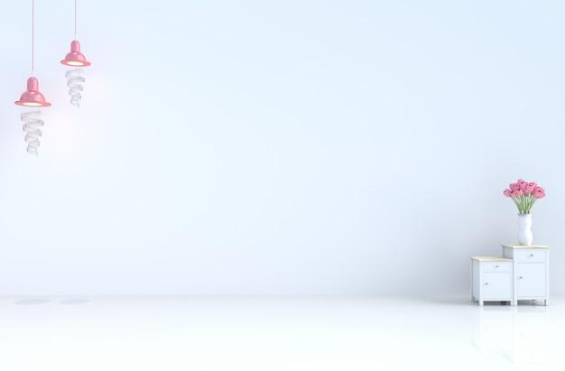 バレンタインデーと新年の愛の白い空の部屋。 3dレンダリング Premium写真