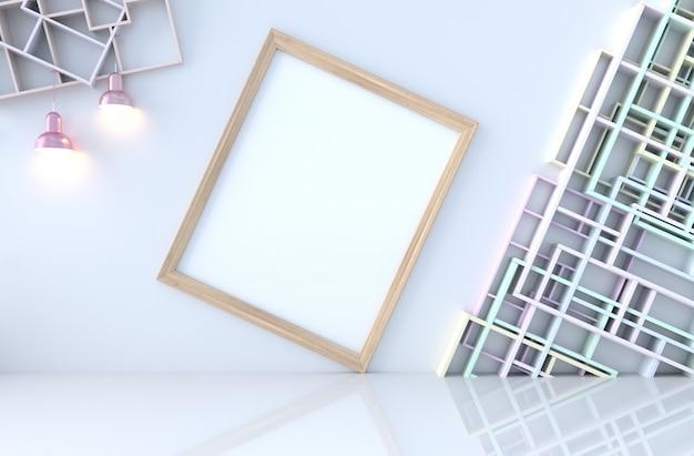 棚の壁、タイル張りの床、ランプ、額縁の空の白い部屋の装飾。 3dレンダリング太陽が窓から影に向かって輝いています。 Premium写真