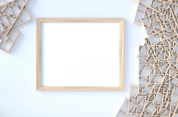 木製の棚の壁、枝、額縁の白い装飾。 3dレンダリング太陽が窓から影に向かって輝いています。 Premium写真
