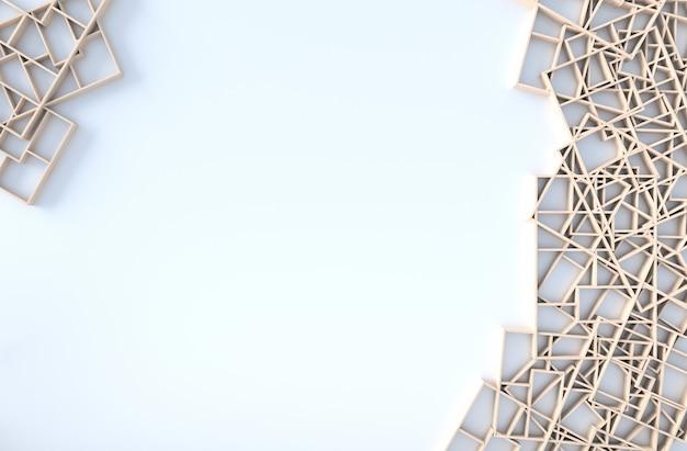木製の棚の壁、枝、額縁と白い背景の装飾。 3dレンダリング太陽が窓から影に向かって輝いています。 Premium写真