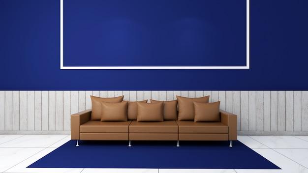 3d визуализация интерьера гостиной макет, диван и ковер Premium Фотографии