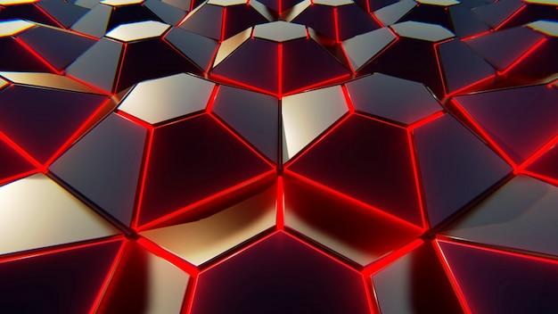 Фон черный синий и оранжевый шестиугольников. современный фон. 3d иллюстрации Premium Фотографии