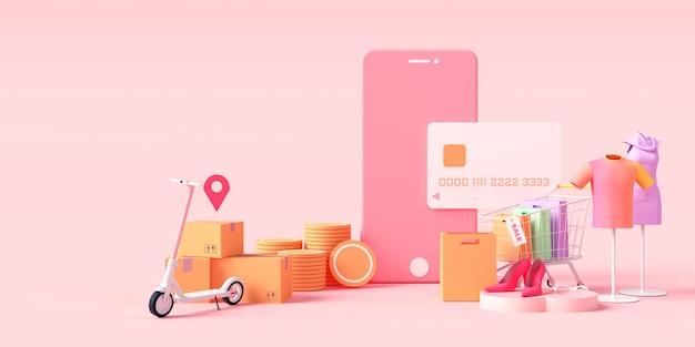 Онлайн покупки 3d-рендеринга, одежда интернет-магазин, онлайн оплата и концепция доставки. продажа баннеров, сумок, скидок, социальной рекламы. иллюстрация. Premium Фотографии