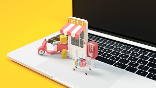 3dレンダリングオンラインショッピングコンピューター Premium写真