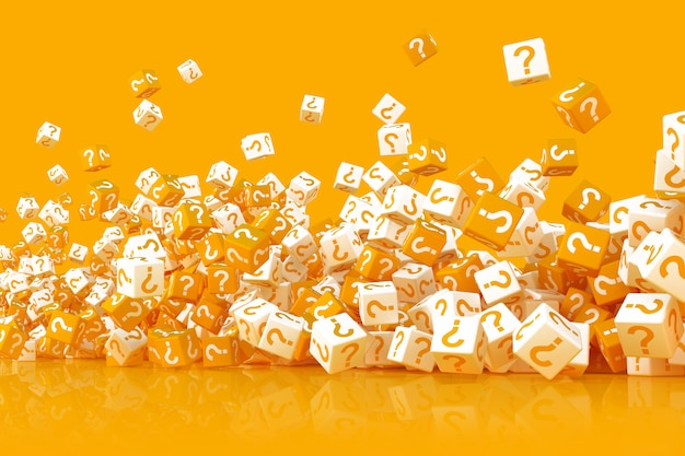 Многие разбросанные кубики с вопросительными знаками 3d иллюстрации Premium Фотографии