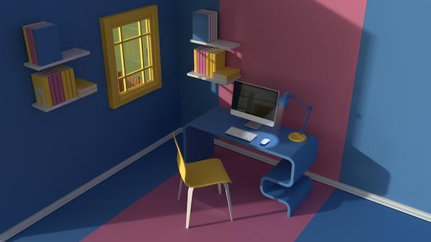 3dレンダリング。ミニマルなモダンな漫画スタイルのインテリアの等角図。夕方の日光の部屋。椅子、テーブル、コンピューター、窓付き Premium写真