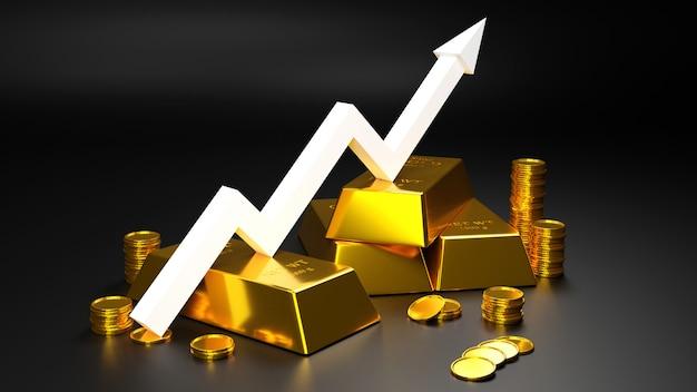 Золотой слиток и золотая монетка для дела., перевод 3d. Premium Фотографии