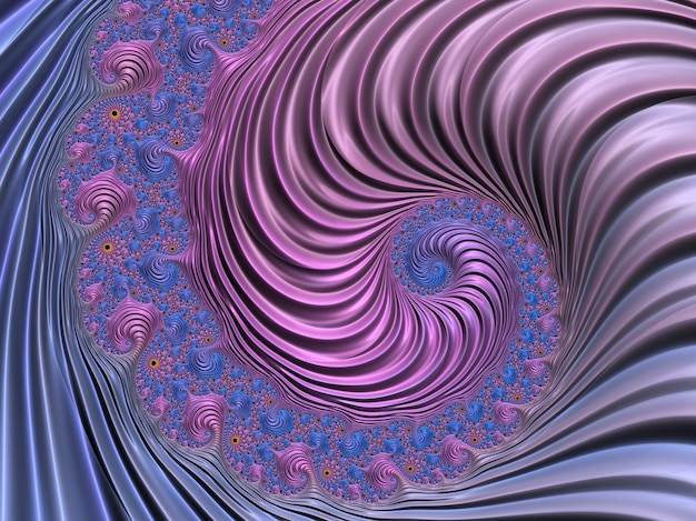 抽象的なピンクとブルーのテクスチャスパイラルフラクタル。 3dレンダリング Premium写真