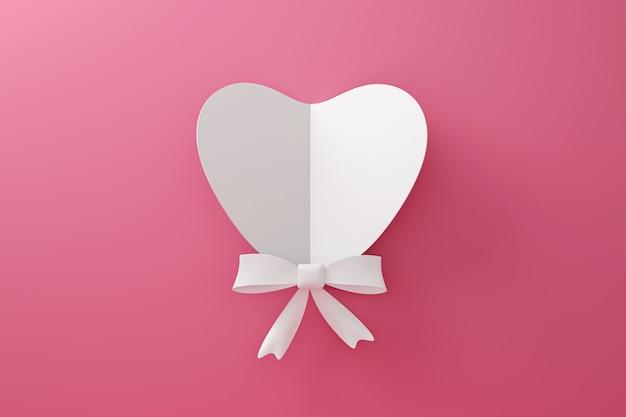 愛の概念と幸せなバレンタインの背景に紙から作られた白いハートとリボンの折り紙。 3dレンダリング。 Premium写真