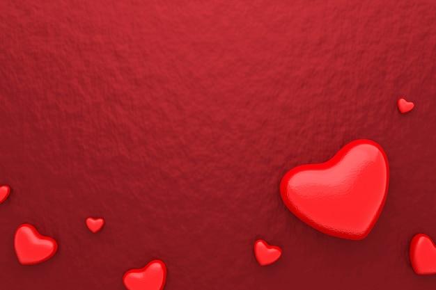 赤いハートと幸せなバレンタインデーと鮮やかな紙の背景の空白のフレーム。美しいミニハートスタイル。 3dレンダリング。 Premium写真
