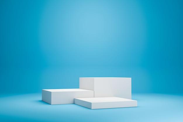 最小限のスタイルで鮮やかな青い夏の背景に白い表彰台の棚または空のスタジオディスプレイ。製品を表示するための空白のスタンド。 3dレンダリング。 Premium写真