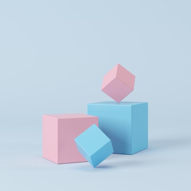 抽象的なパステルカラーの幾何学的形状、製品の表彰台ディスプレイ。最小限の概念3dレンダリング Premium写真