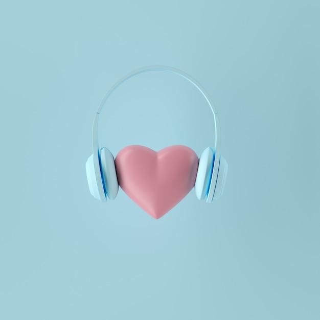 最小限の概念青い背景に青いヘッドフォンと顕著なピンク色のハート形。 3dレンダリング Premium写真