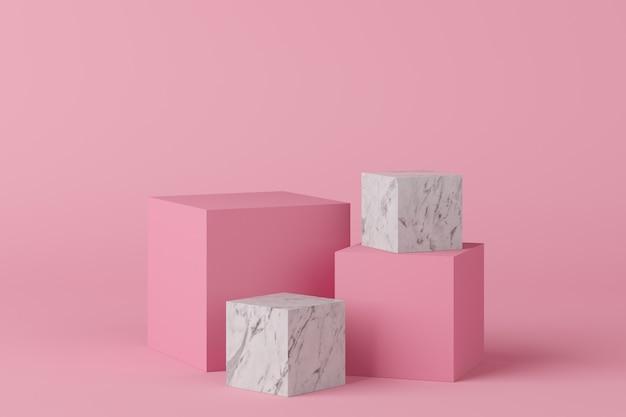 製品のピンクの背景に大理石の抽象的な幾何学形状ピンクカラー表彰台。最小限の概念3dレンダリング Premium写真