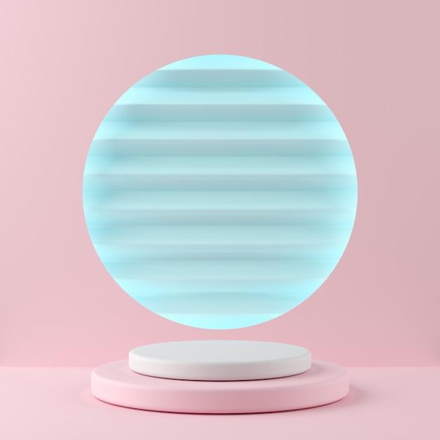 抽象的な幾何学形状製品の青い色の背景に白い色とピンク色の表彰台。最小限の概念3dレンダリング Premium写真