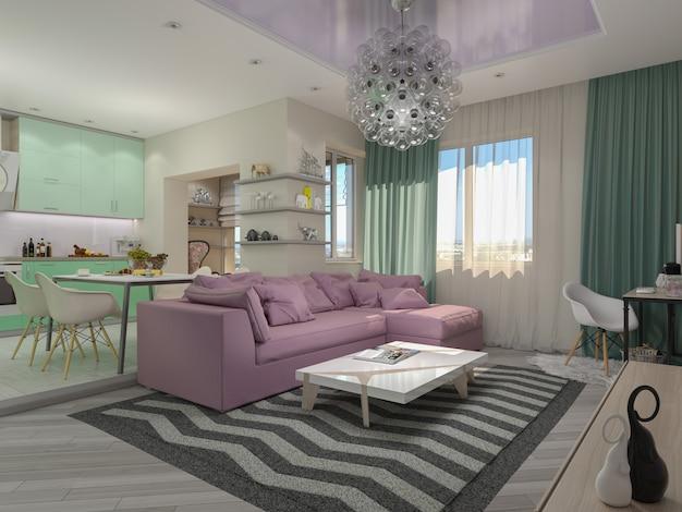 Иллюстрация 3d малых квартир в пастельных цветах. Premium Фотографии