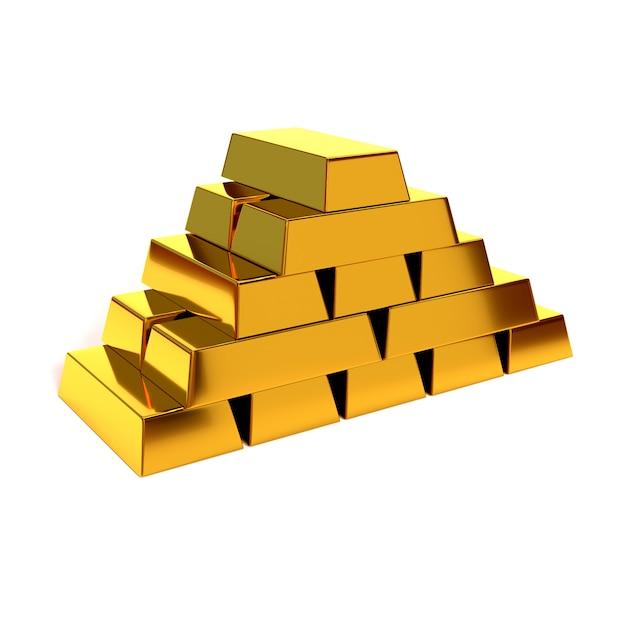 白い背景の上の光沢のある金の延べ棒のピラミッド。 3dイラスト、レンダリングします。経済的な成功と繁栄の概念 Premium写真