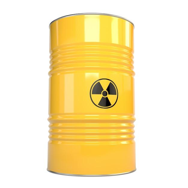 Иллюстрация 3d бочонков желтого металла с содержанием радиации и знаком радиации. Premium Фотографии