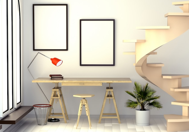 Иллюстрация 3d абстрактного интерьера с рабочим столом, торшером, окном и винтовой лестницей. Premium Фотографии
