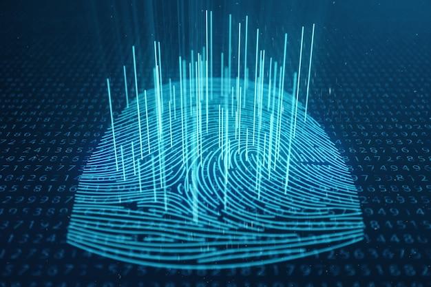 3d-иллюстрация сканирование отпечатков пальцев обеспечивает безопасный доступ с биометрической идентификацией. концепция защиты отпечатков пальцев. отпечаток пальца с двоичным кодом. концепция цифровой безопасности Premium Фотографии