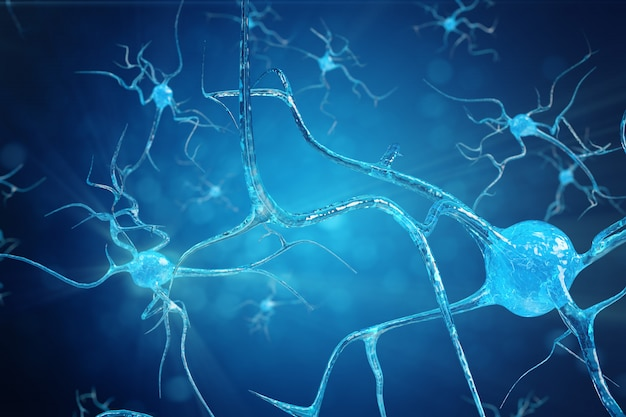 Концептуальная иллюстрация нейронных клеток со светящимися звеньями связи. синапсовые и нейронные клетки посылают электрохимические сигналы. нейрон взаимосвязанных нейронов с электрическими импульсами. 3d иллюстрация Premium Фотографии