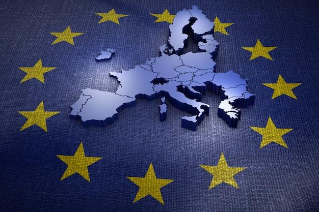 旗の上の欧州連合のボリュームマップ。 3dレンダリング Premium写真