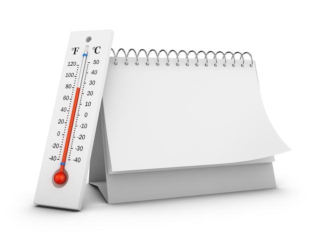 Термометр и пустой настольный календарь на белом фоне. 3d визуализация. Premium Фотографии