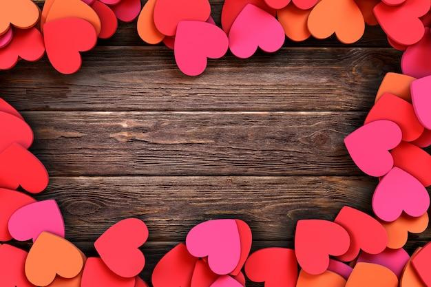 ヴィンテージの木製の背景にハートが大好きです。 3dレンダリング図 Premium写真