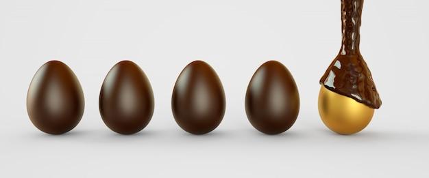 チョコレートの黄金の卵。イースターエッグ。 3dレンダリング図 Premium写真