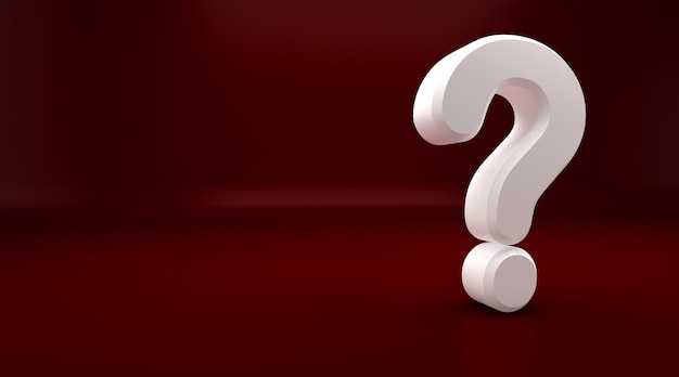 3drendering of white question mark on red background. exclamation and question mark Premium Photo