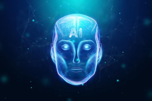 ブルーホログラムロボットヘッド、人工知能。コンセプトニューラルネットワーク、オートパイロット、ロボット化、産業革命4.0。 3dイラスト、3dレンダリング。 Premium写真
