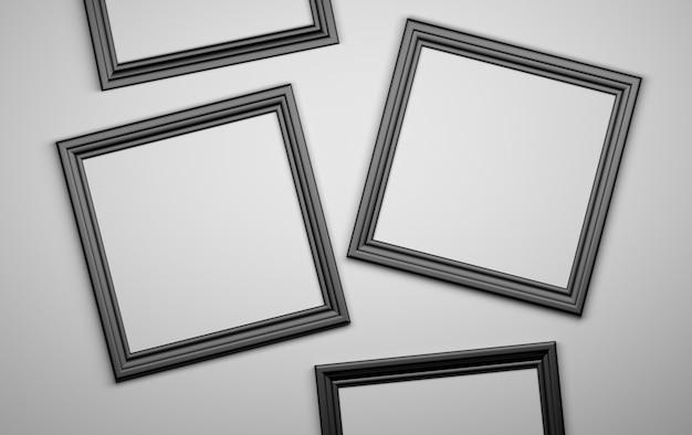 4つの黒い写真フォトフレームが空白です。 3 dイラスト Premium写真