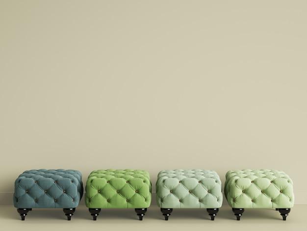 4 пуфа разных цветов в бежевой комнате с копией пространства. 3d-рендеринг Premium Фотографии