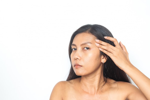 40-49 years asian woman has problems on face. beauty and health. surgery Premium Photo