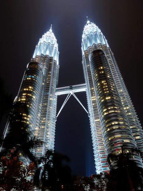 451m petronas towers in kuala lumpur at night Free Photo