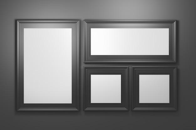 黒の背景に空白のコピースペースを持つ4つの黒の豪華な写真フォトフレームのコレクションを設定します Premium写真