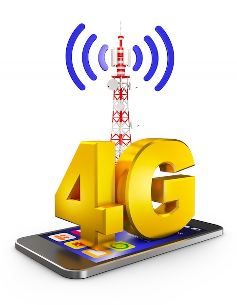 4g on the smartphone and a communications tower. 3d rendering. Premium Photo
