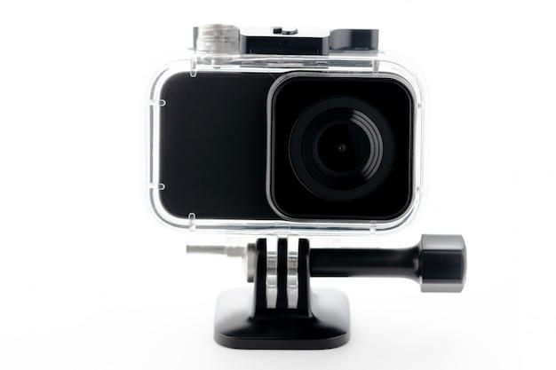 4k action camera isolated on a white background. Premium Photo