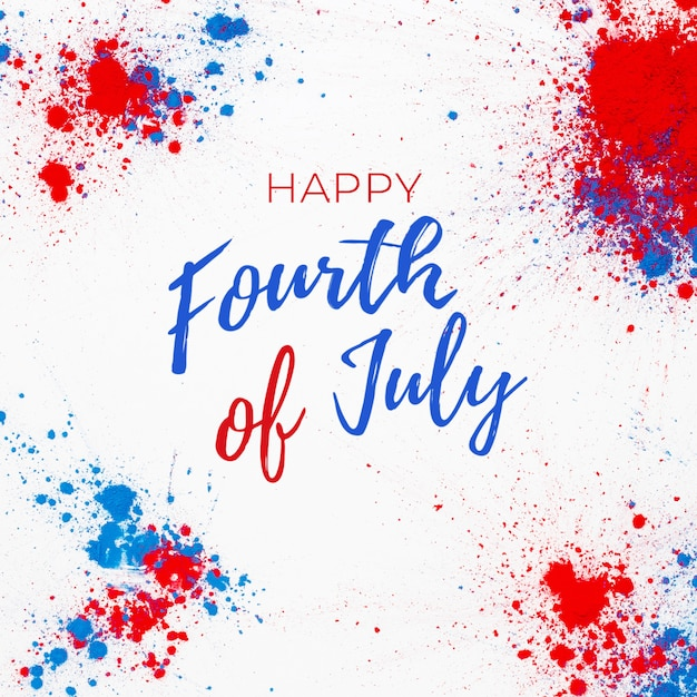 4th of july background with lettering and fireworks made with splashes of holi color Free Photo